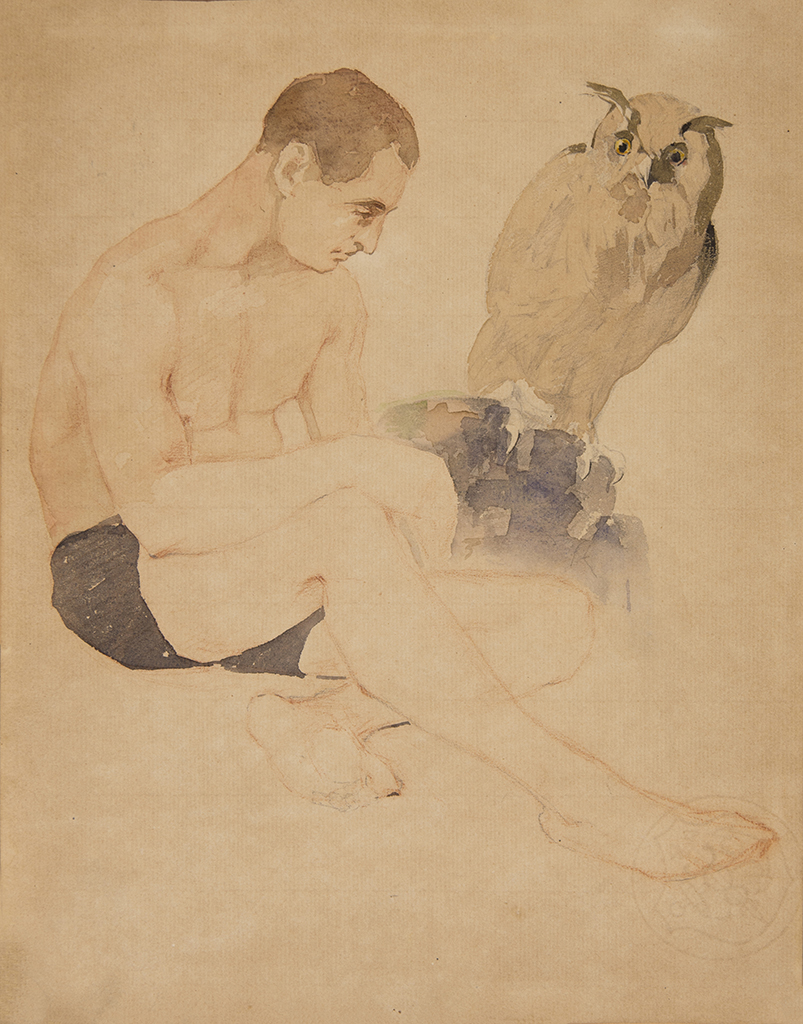 "Krainev Danilo K. ""Model with an owl sitting"""