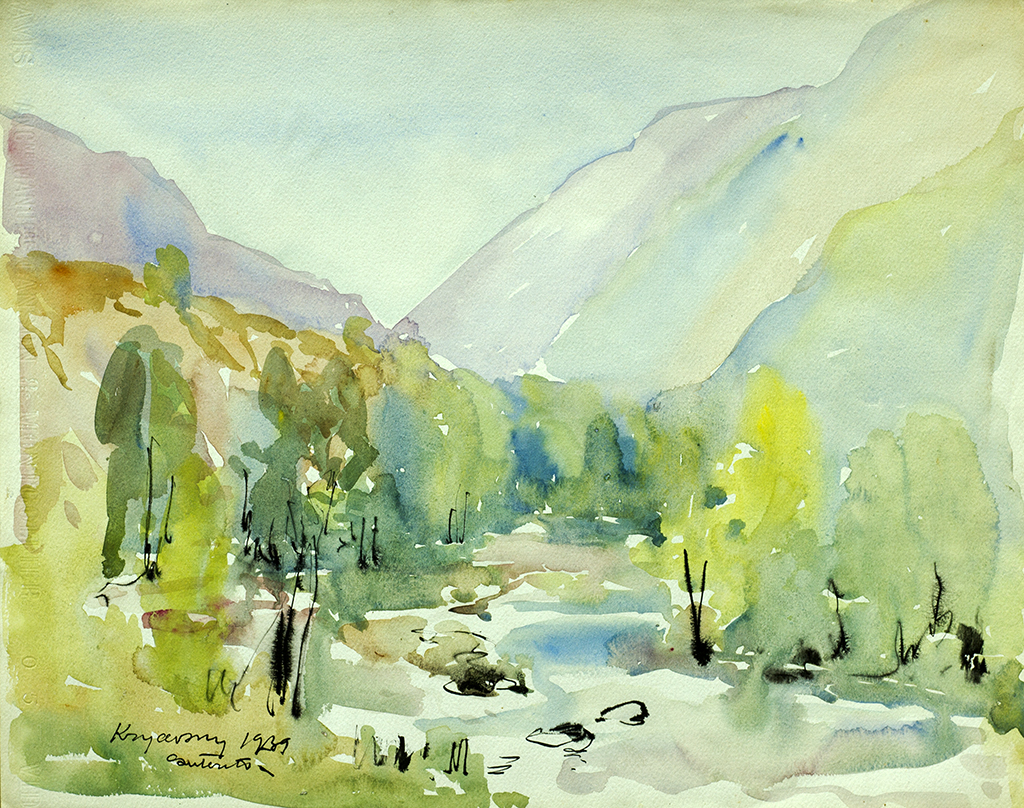 "Krychevsky Mykola V. ""Mountain landscape with river"" 1939"