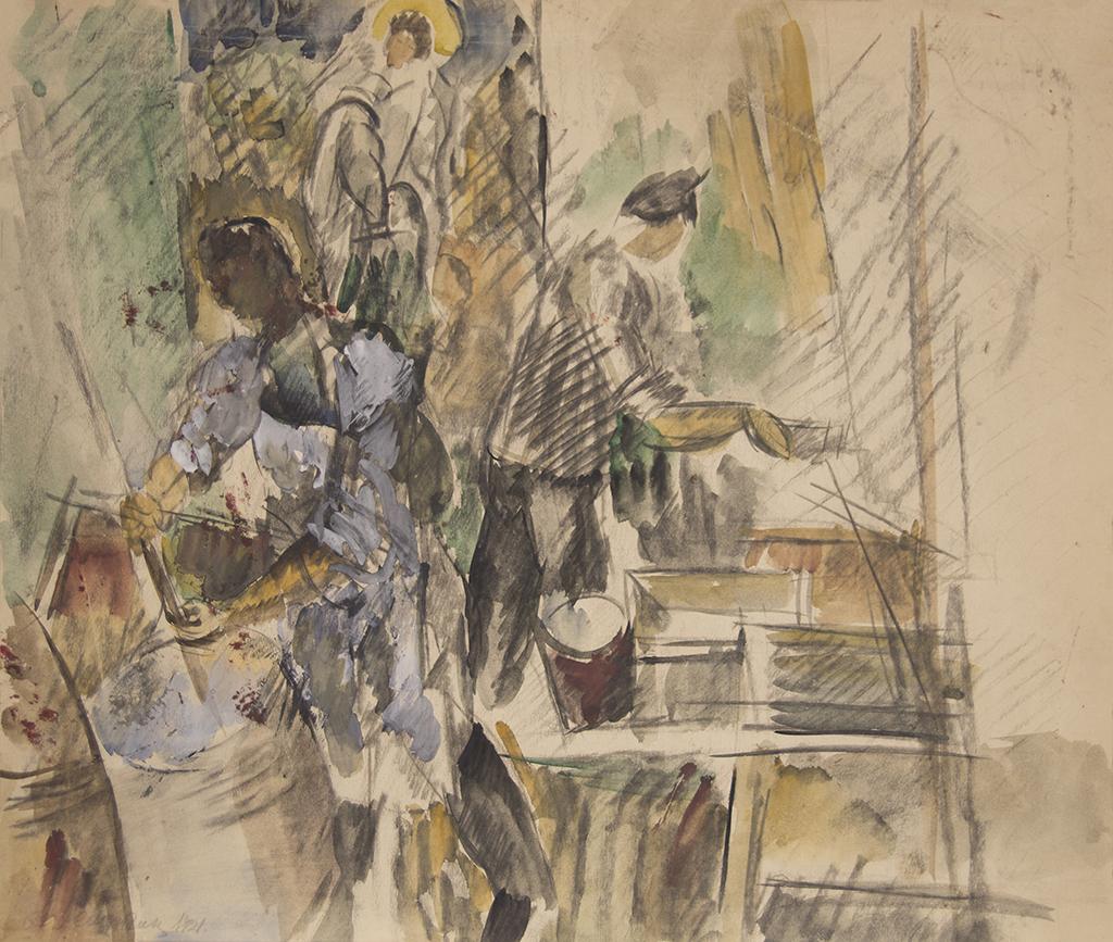 """Осмьоркін О.О. """"Будівельники. Ескіз"""" 1921"""